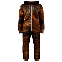 Brown, Bronze, Wicker, And Rattan Fractal Circles Hooded Jumpsuit (ladies)  by jayaprime