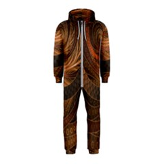 Brown, Bronze, Wicker, And Rattan Fractal Circles Hooded Jumpsuit (kids) by jayaprime