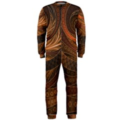 Brown, Bronze, Wicker, And Rattan Fractal Circles Onepiece Jumpsuit (men)  by jayaprime