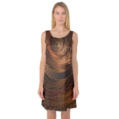 Brown, Bronze, Wicker, And Rattan Fractal Circles Sleeveless Satin Nightdress by jayaprime