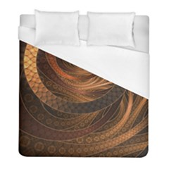 Brown, Bronze, Wicker, And Rattan Fractal Circles Duvet Cover (full/ Double Size) by jayaprime