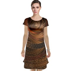 Brown, Bronze, Wicker, And Rattan Fractal Circles Cap Sleeve Nightdress by jayaprime