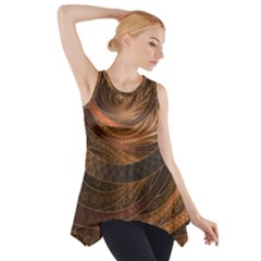 Brown, Bronze, Wicker, And Rattan Fractal Circles Side Drop Tank Tunic by jayaprime