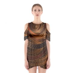 Brown, Bronze, Wicker, And Rattan Fractal Circles Shoulder Cutout One Piece by jayaprime