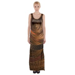 Brown, Bronze, Wicker, And Rattan Fractal Circles Maxi Thigh Split Dress by jayaprime