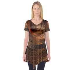 Brown, Bronze, Wicker, And Rattan Fractal Circles Short Sleeve Tunic  by jayaprime