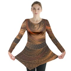 Brown, Bronze, Wicker, And Rattan Fractal Circles Long Sleeve Tunic  by jayaprime