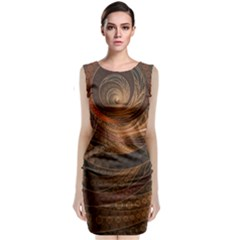 Brown, Bronze, Wicker, And Rattan Fractal Circles Classic Sleeveless Midi Dress by jayaprime