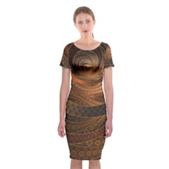 Brown, Bronze, Wicker, And Rattan Fractal Circles Classic Short Sleeve Midi Dress