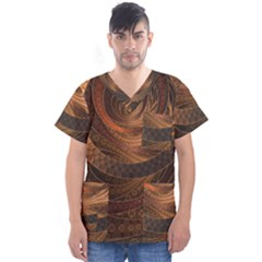 Brown, Bronze, Wicker, And Rattan Fractal Circles Men s V Neck Scrub Top by jayaprime