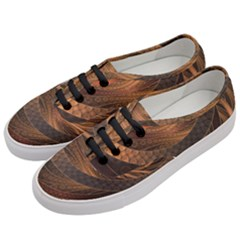 Brown, Bronze, Wicker, And Rattan Fractal Circles Women s Classic Low Top Sneakers by jayaprime
