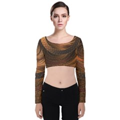 Brown, Bronze, Wicker, And Rattan Fractal Circles Velvet Long Sleeve Crop Top by jayaprime
