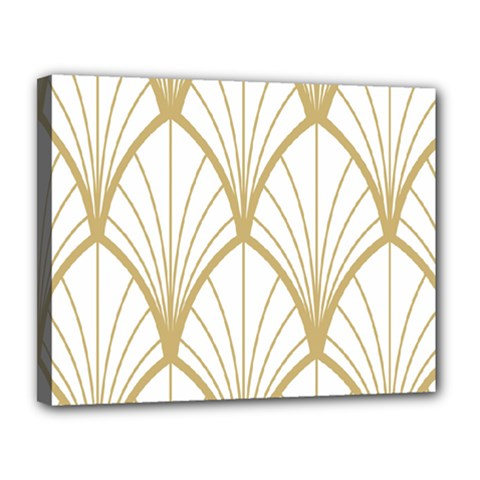 Art Deco, Beautiful,fan Pattern, Gold,white,vintage,1920 Era, Elegant,chic,vintage Canvas 14  X 11