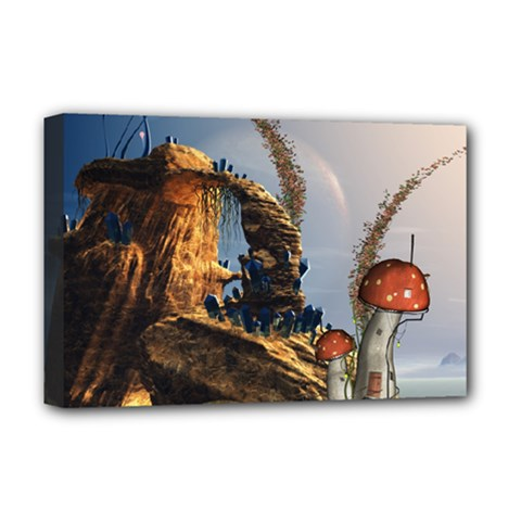 Wonderful Seascape With Mushroom House Deluxe Canvas 18  X 12   by FantasyWorld7