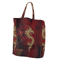 Wonderful Mystical Dragon, Vintage Giant Grocery Zipper Tote