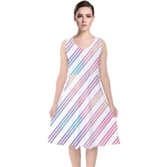 Colored Candy Striped V-neck Midi Sleeveless Dress