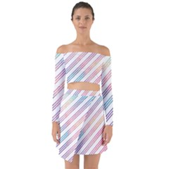 Colored Candy Striped Off Shoulder Top With Skirt Set