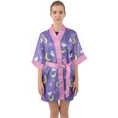 Rabbit Of The Moon Quarter Sleeve Kimono Robe
