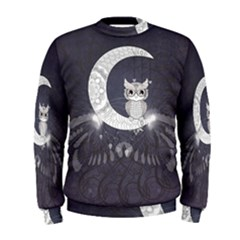 Mandala, Cute Owl On The Moon Men s Sweatshirt by FantasyWorld7