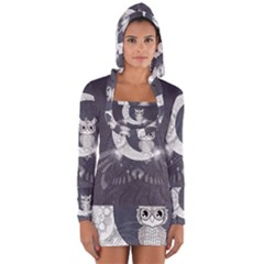 Mandala, Cute Owl On The Moon Long Sleeve Hooded T Shirt by FantasyWorld7
