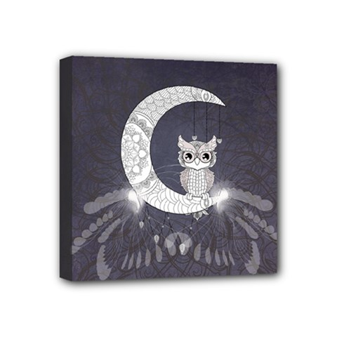 Mandala, Cute Owl On The Moon Mini Canvas 4  X 4  by FantasyWorld7