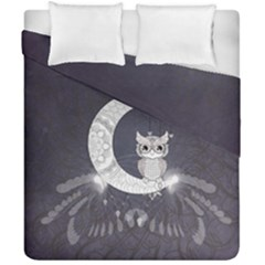 Mandala, Cute Owl On The Moon Duvet Cover Double Side (california King Size) by FantasyWorld7