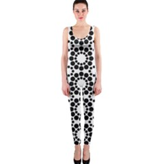 Black White Pattern Seamless Monochrome Onepiece Catsuit