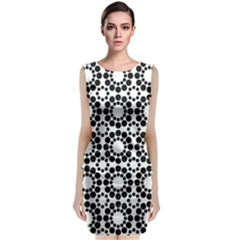 Black White Pattern Seamless Monochrome Classic Sleeveless Midi Dress