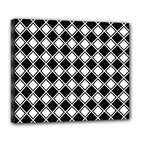 Black White Square Diagonal Pattern Seamless Deluxe Canvas 24  X 20