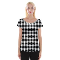 Black White Square Diagonal Pattern Seamless Cap Sleeve Tops