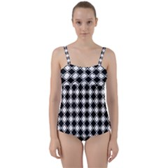 Black White Square Diagonal Pattern Seamless Twist Front Tankini Set