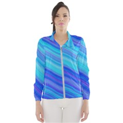 Blue Background Water Design Wave Wind Breaker (women)
