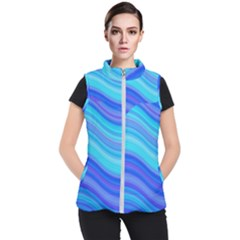 Blue Background Water Design Wave Women s Puffer Vest