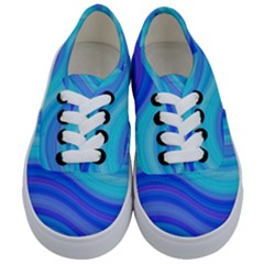 Blue Background Water Design Wave Kids  Classic Low Top Sneakers