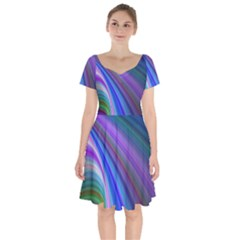Background Abstract Curves Short Sleeve Bardot Dress