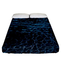 Blue Black Shiny Fabric Pattern Fitted Sheet (queen Size)