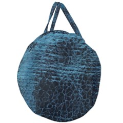Blue Black Shiny Fabric Pattern Giant Round Zipper Tote