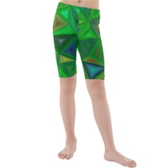 Green Triangle Background Polygon Kids  Mid Length Swim Shorts by Celenk