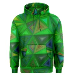 Green Triangle Background Polygon Men s Pullover Hoodie