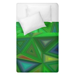 Green Triangle Background Polygon Duvet Cover Double Side (single Size)