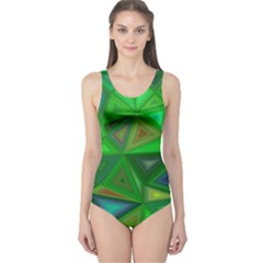 Green Triangle Background Polygon One Piece Swimsuit by Celenk