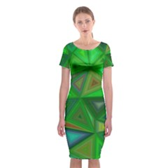 Green Triangle Background Polygon Classic Short Sleeve Midi Dress by Celenk