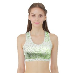 Green Square Background Color Mosaic Sports Bra With Border