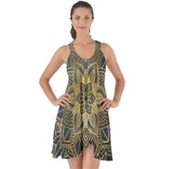 Gold Mandala Floral Ornament Ethnic Show Some Back Chiffon Dress