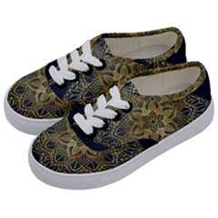 Gold Mandala Floral Ornament Ethnic Kids  Classic Low Top Sneakers by Celenk