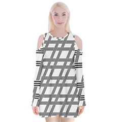 Grid Pattern Seamless Monochrome Velvet Long Sleeve Shoulder Cutout Dress