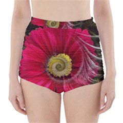Fantasy Flower Fractal Blossom High Waisted Bikini Bottoms by Celenk
