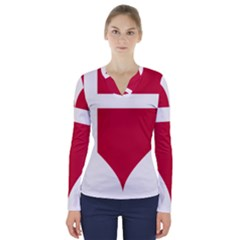 Heart Love Flag Denmark Red Cross V Neck Long Sleeve Top