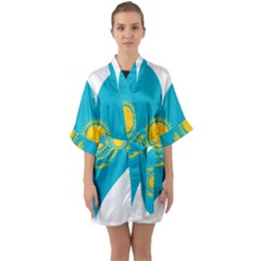 Heart Love Flag Sun Sky Blue Quarter Sleeve Kimono Robe by Celenk