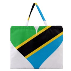 Heart Love Tanzania East Africa Zipper Large Tote Bag by Celenk